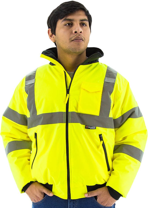 Safety Jacket Majestic 75-1300 Hi Vis CL3 Yellow Bomber Jacket: Global Construction Supply