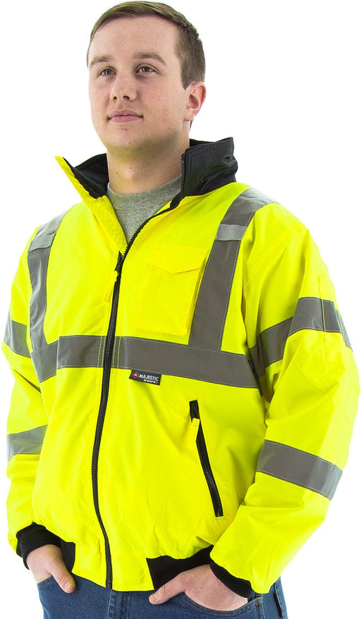Safety Jacket Majestic 75-1301 CL3 Hi Vis Yellow Bomber Jacket: Global Construction Supply