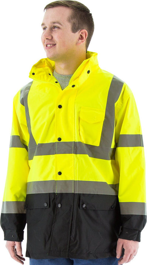 Safety Jacket Majestic 75-1305 Hi Vis Yellow Rain Jacket with Black Bottom: Global Construction Supply