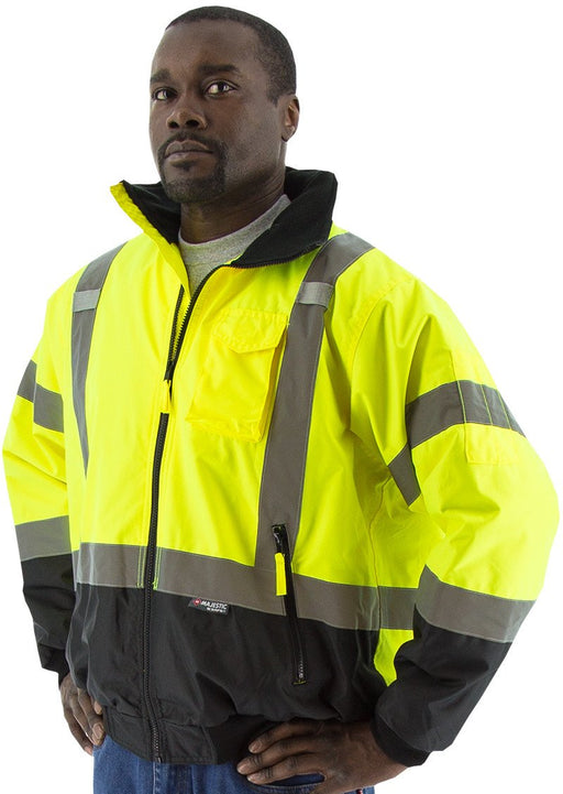 Safety Jacket Majestic 75-1311 CL3 Hi Vis Yellow Bomber Jacket: Global Construction Supply