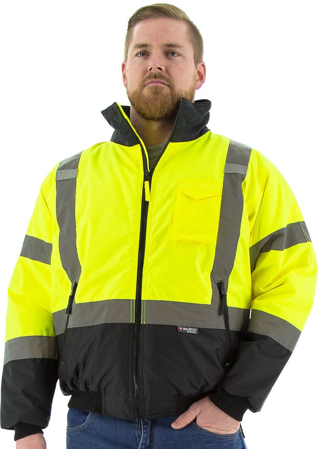 Safety Jacket Majestic 75-1313 CL3 Hi Vis Yellow Bomber Jacket: Global Construction Supply