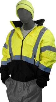 Custom Logo Majestic 75-1311-C1 Hi Vis Safety Jacket with Heat Transfer Letters ANSI Class 3 - Global Construction Supply