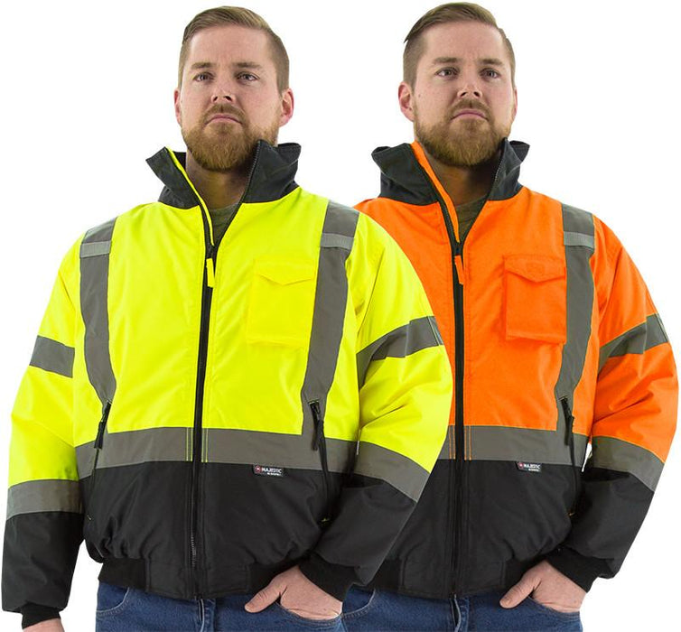 Safety Jacket Majestic 75-1314 CL3 Hi Vis Orange Bomber Jacket: Global Construction Supply
