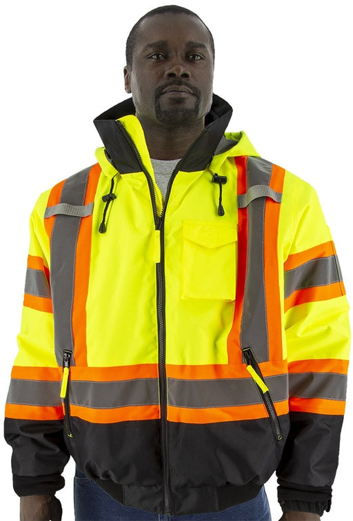 Safety Jacket Majestic 75-1315 CL3 Hi Vis Yellow/Orange Bomber Jacket
