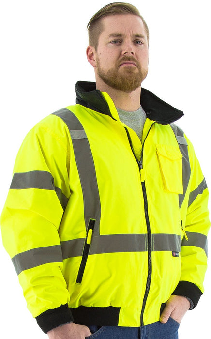 Safety Jacket Majestic 75-1331 CL3 CSA Z96 Hi Vis Yellow Bomber Jacket: Global Construction Supply