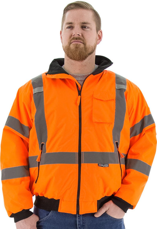Safety Jacket Majestic 75-1332 CL3 CSA Z96 Hi Vis Orange Bomber Jacket: Global Construction Supply