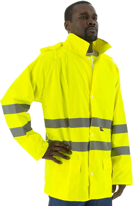 Safety Jacket Majestic 75-1351 CL3 Hi Vis Yellow Rain Jacket: Global Construction Supply