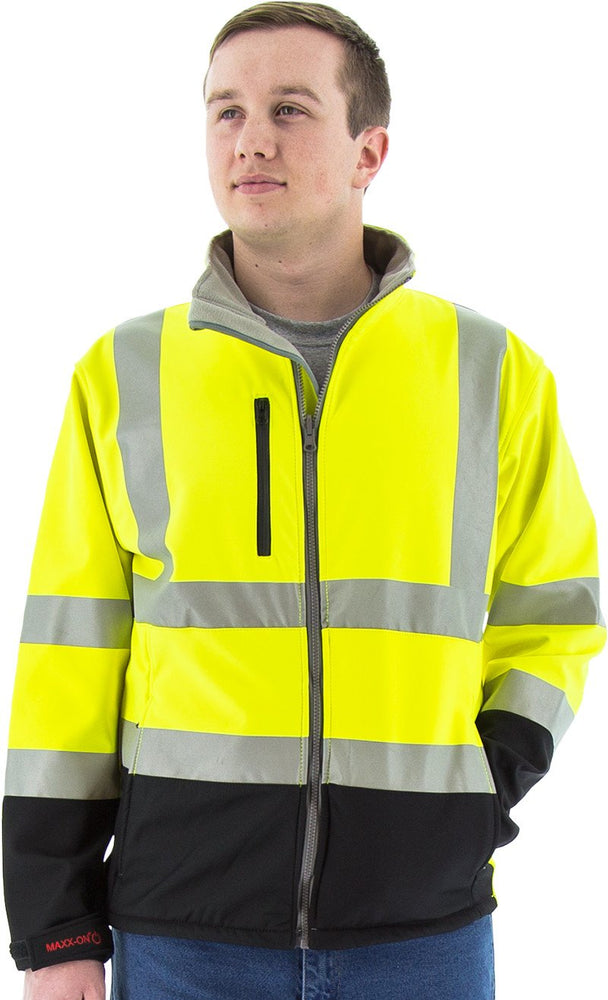 Safety Jacket Majestic 75-1371 CL3 Hi Vis Yellow Soft Shell Jacket: Global Construction Supply