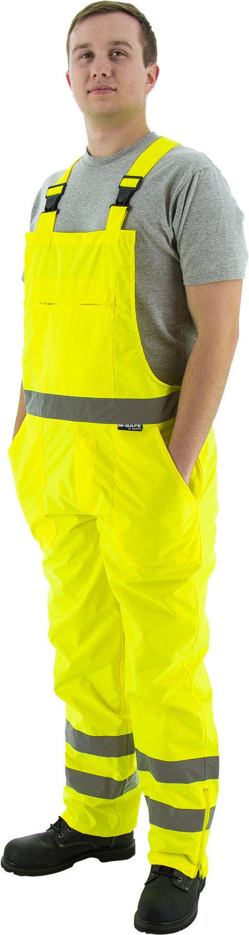 Majestic 75-2353 Hi Vis Yellow ANSI Class E Rain Bibs Inside Coating: Global Construction Supply