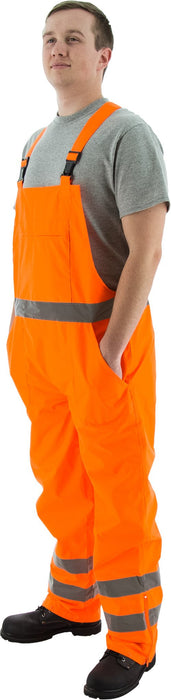 Majestic 75-2354 Hi Vis Orange ANSI Class E Rain Bibs Inside Coating: Global Construction Supply