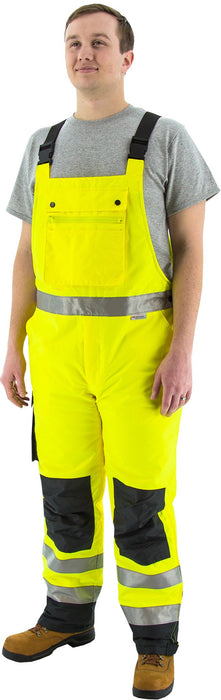 Majestic 75-2357 High Visibility Yellow/Black Quilted, Insulated Waterproof Bib Overalls: Global Construction Supply