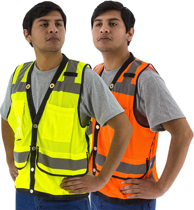 Safety Vest Majestic 75-3207 CL2 Hi Vis Surveyor's Vest: Global Construction Supply