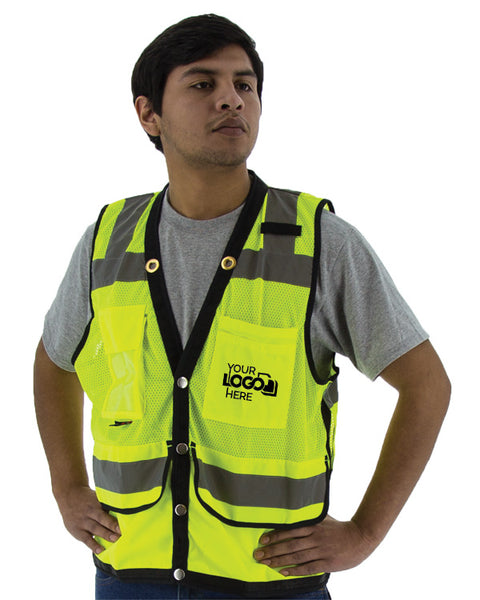 Custom Logo Majestic 75-3207-C 75-3208-C Heavy Duty Safety Vest ANSI Class 2 Snap Front - Global Construction Supply