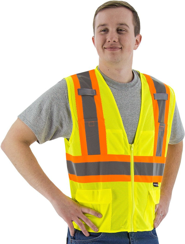 Safety Vest Majestic 75-3209 CL2 Hi Vis Mesh Vest with DOT Striping: Global Construction Supply