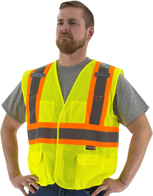 Safety Vest Majestic 75-3211 CL2 Hi Vis Mesh Vest with DOT Striping: Global Construction Supply