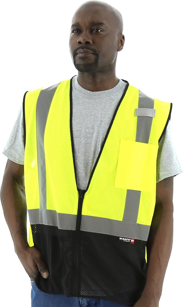 Safety Vest Majestic 75-3213 CL2 Hi Vis Vest with Black: Global Construction Supply