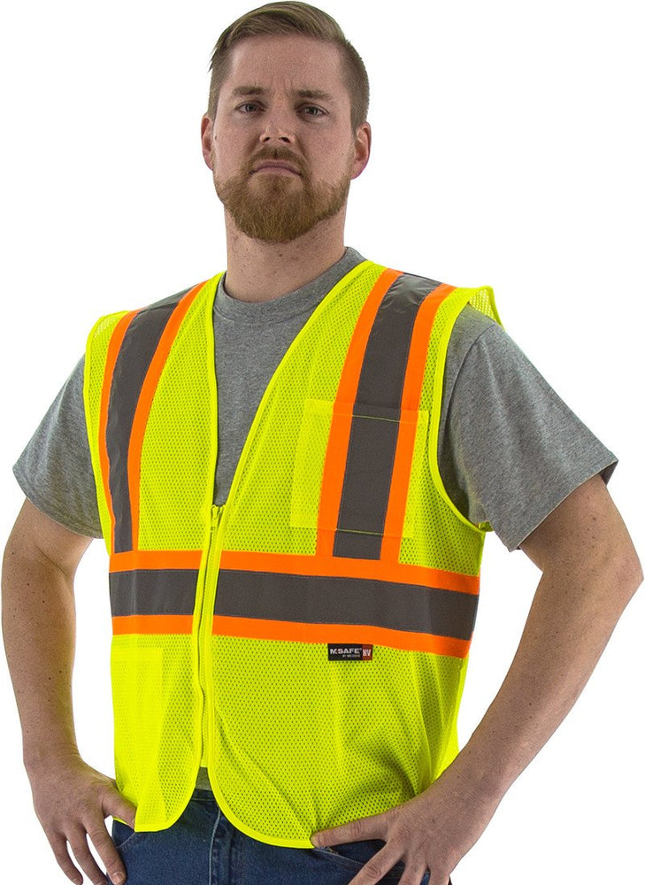 Safety Vest Majestic 75-3217 CL2 Hi Vis DOT Striped Vest: Global Construction Supply