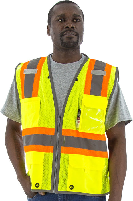 Safety Vest Majestic 75-3225 CL2 DOT Striped Safety Vest: Global Construction Supply