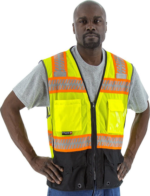 Safety Vest Majestic 75-3239 CL2 Hi Vis Vest with Black: Global Construction Supply