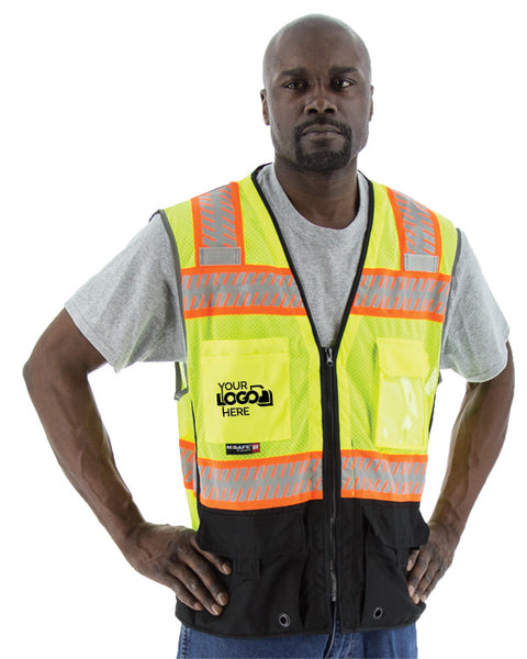 Custom Logo Majestic 75-3239-C Hi Vis Mesh Safety Vest with Black Bottom ANSI Class 2 - Global Construction Supply
