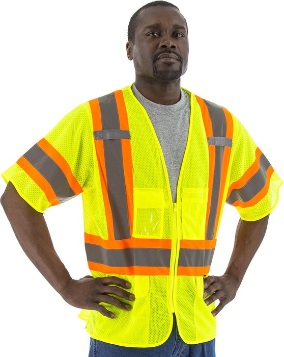 Safety Vest Majestic 75-3301 CL3 Hi Vis Mesh Safety Vest: Global Construction Supply
