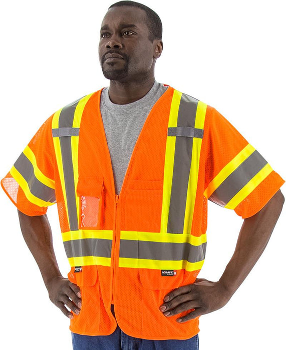 Safety Vest Majestic 75-3302 CL3 Hi Vis Mesh Safety Vest: Global Construction Supply