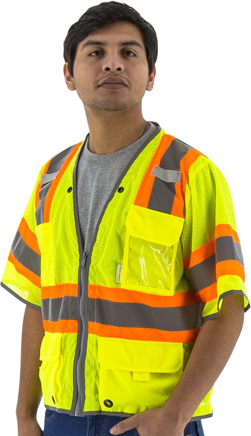Safety Vest Majestic 75-3325 CL3 Hi Vis Vest with D-Ring: Global Construction Supply