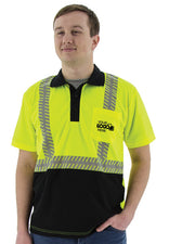 Custom Logo Majestic 75-5213-C Hi Vis Yellow Polo Shirt with Black Bottom ANSI Class 2 - Global Construction Supply