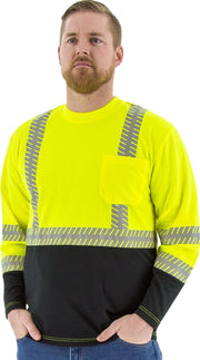 Safety Shirt Majestic 75-5257 Hi Vis CL2 Long Sleeve Shirt: Global Construction Supply