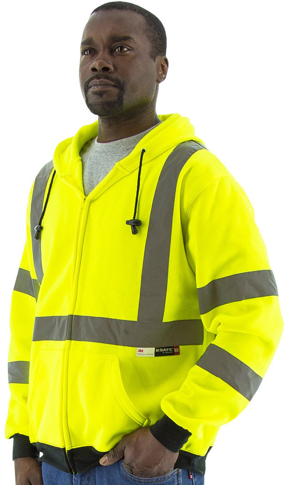 Majestic 75-5323 Hi Vis Yellow Zipper Sweatshirt ANSI Class 3: Global Construction Supply