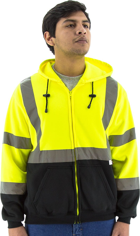 Majestic 75-5325 Hi Vis Yellow Zipper Sweatshirt ANSI Class 3 Black Bottom: Global Construction Supply