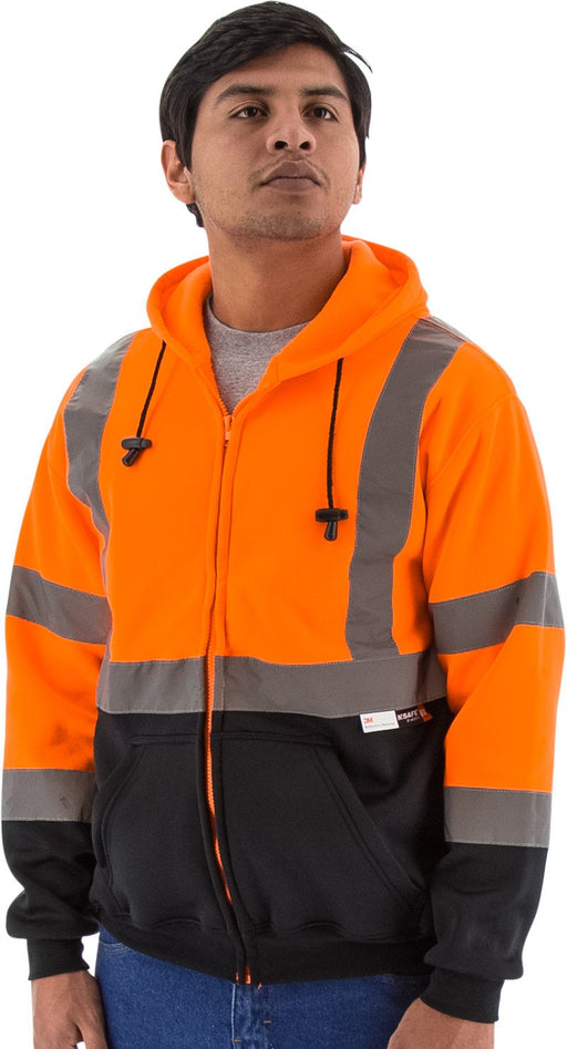 Majestic 75-5326 Hi Vis Orange Zipper Sweatshirt ANSI Class 3 Black Bottom: Global Construction Supply