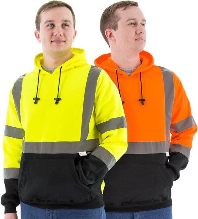 Majestic 75-5327 Hi Vis Yellow Pullover Sweatshirt ANSI Class 3 Black Bottom: Global Construction Supply