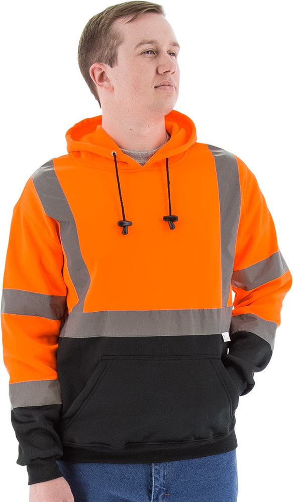 Majestic 75-5328 Hi Vis Orange Pullover Sweatshirt ANSI Class 3 Black Bottom: Global Construction Supply