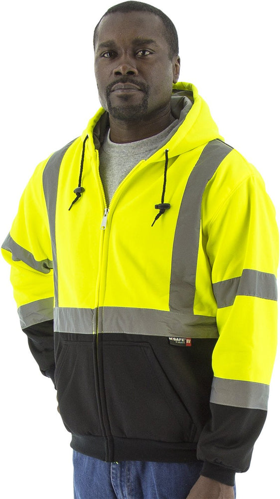 Majestic 75-5331 Hi Vis Yellow Zipper Heavy Weight Sweatshirt ANSI Class 3 Black Bottom: Global Construction Supply