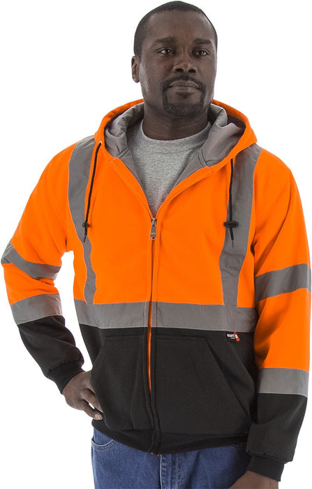 Majestic 75-5332 Hi Vis Orange Zipper Heavy Weight Sweatshirt ANSI Class 3 Black Bottom: Global Construction Supply