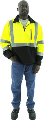 Majestic 75-5335 Hi Vis Yellow 1/4 Zip Sweatshirt with Teflon ANSI Class 3: Global Construction Supply