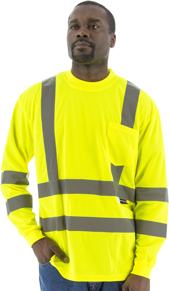 Safety Shirt Majestic 75-5355 Hi Vis CL3 Long Sleeve Shirt: Global Construction Supply