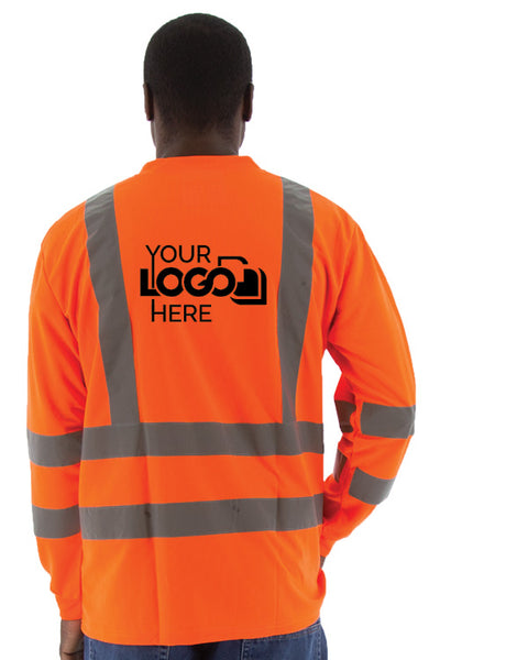 Custom Logo Majestic 75-5355-C 75-5356-C Hi Vis Long Sleeve Safety T-Shirt ANSI Class 3 - Global Construction Supply