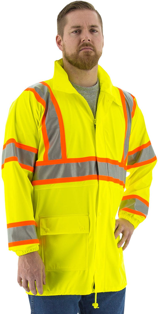 Safety Jacket Majestic 75-7301 CL3 Hi Vis Yellow Rain Jacket: Global Construction Supply