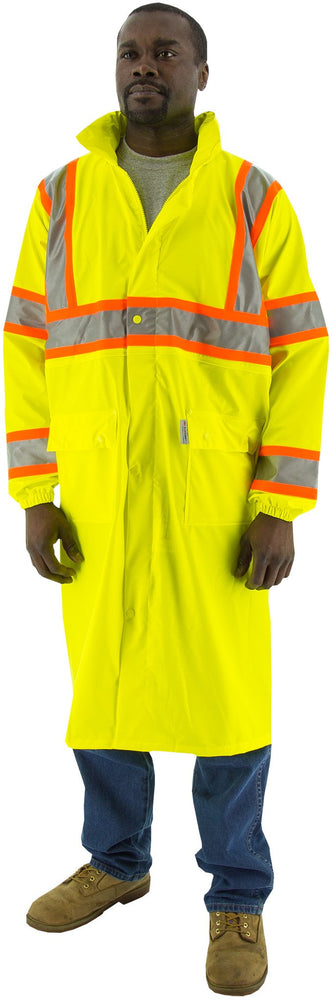 Safety Jacket Majestic 75-7303 CL3 Hi Vis Yellow Rain Coat: Global Construction Supply