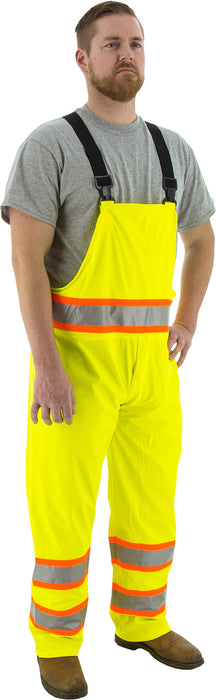 Majestic 75-7353 Hi Vis Yellow Rain Bibs ANSI Class E DOT Stripes: Global Construction Supply