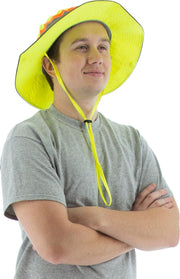 Majestic 75-8207 High Visibility Yellow Brim Hat with Chinstrap: Global Construction Supply
