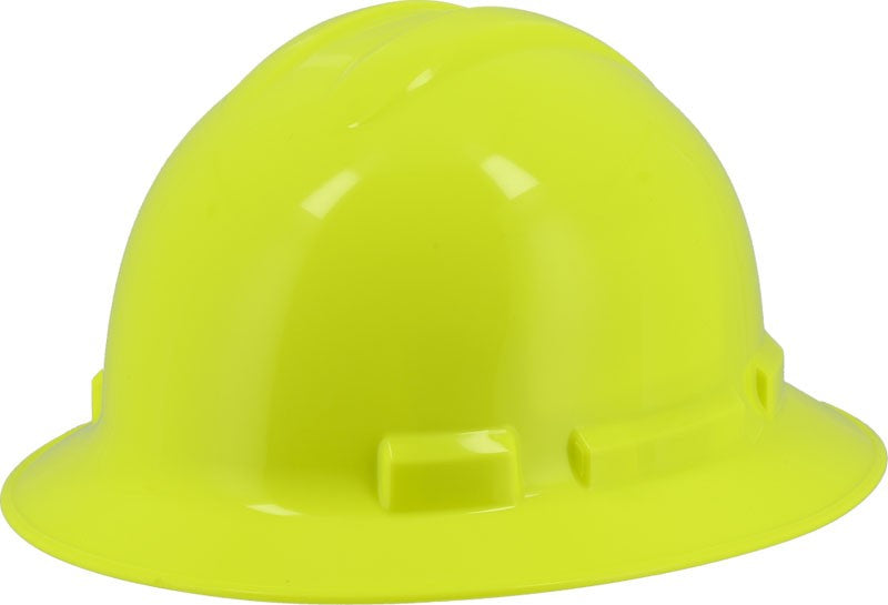 Hi-Viz Yellow Majestic 87-1255 Full Brim Hard Hat with 6 Point Ratchet Suspension