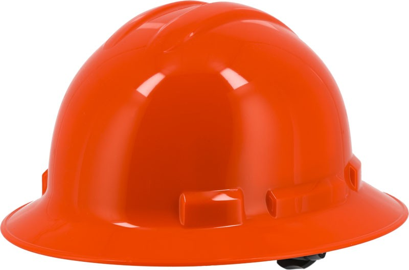 Orange Majestic 87-1255 Full Brim Hard Hat with 6 Point Ratchet Suspension