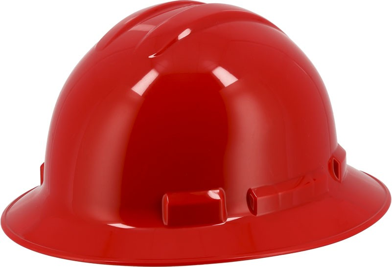 Red Majestic 87-1255 Full Brim Hard Hat with 6 Point Ratchet Suspension