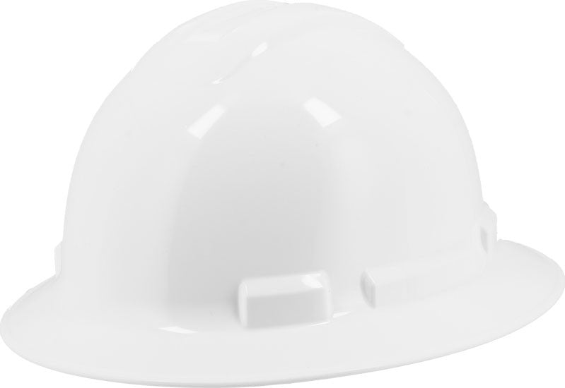 White Majestic 87-1255 Full Brim Hard Hat with 6 Point Ratchet Suspension