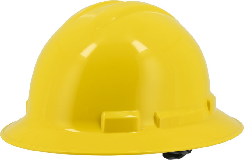 Yellow Majestic 87-1255 Full Brim Hard Hat with 6 Point Ratchet Suspension