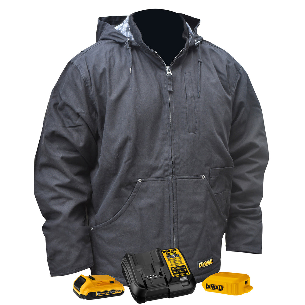 Black DeWALT DCHJ076ABD1 Heavy Duty Heated Work Jacket