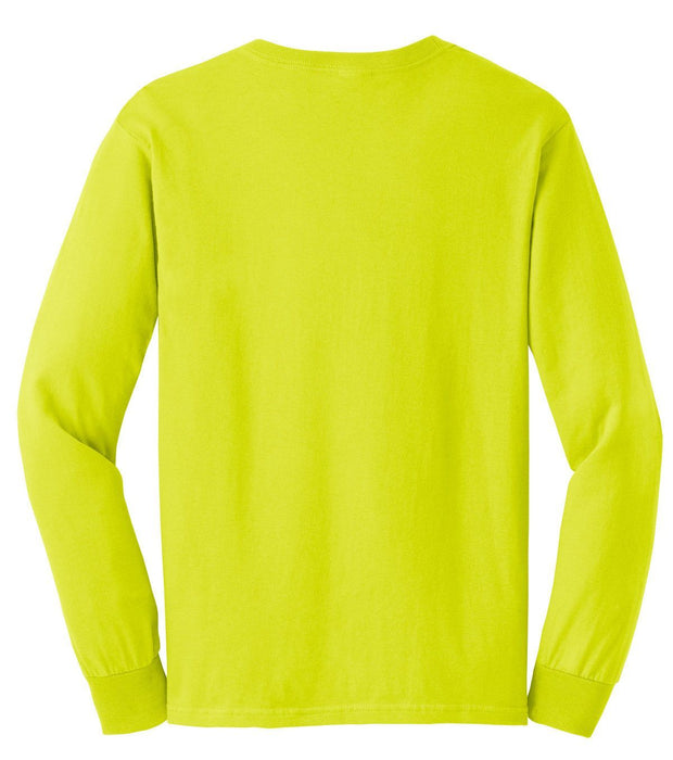 Gildan G2400 Ultra Cotton Long Sleeve Hi Vis Safety Green or Safety Orange T-Shirt - Global Construction Supply